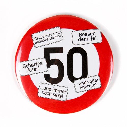 Herz & Heim® Riesen Verkehrsschild Button zum 50. Geburtstag