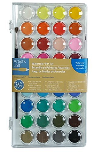 36 Color Fundamental Watercolor Pan Set with Paint Brush by Artists Loft