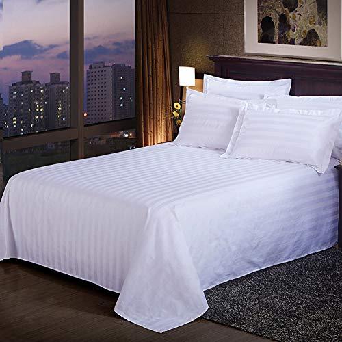 FairOnly Exquisito satén blanco rayas colcha color sólido hoja plana para el hogar del hotel