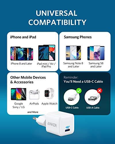 Anker Nano iPhone Ladegerät, 20W PIQ 3.0 Mini Ladegerät, PowerPort III USB-C Netzteil für iPhone 12/12 Mini/12 Pro/12 Pro Max, Galaxy, Pixel 4/3, iPad Pro, AirPods Pro (Ladekabel nicht inklusive)