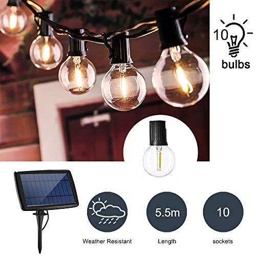 Konesky Globus Solar Lichterketten, Draussen Retro G40 Glühlampen Hängende Schnur Dekorative Beleuchtung 4 Modus Warmweiß Girlandenlampe Zuhause Garten Party Hinterhof Terrasse