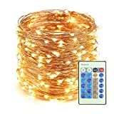 Fairy Lights Fairy String Lights Plug Operated Waterproof (8 Modes,300 LED 99ft) String Lights Copper Wire Firefly Lights Remote Control for DIY Wedding Party Dinner (Warm White)