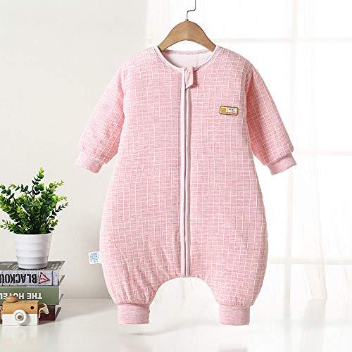 Unisex baby-inbakerdekens, herfst- en wintergewatteerde slaapzak met split-been, baby-anti-kick-quilt-roze grid_90 yards 80-90cm 1-2 jaar oud, pasgeboren baby dikke warme slaapzak