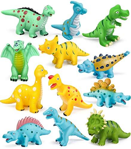 Geyiie Baby Bath Toys Set 12pcs Floating Dinosaurs Bath Squirters Toys...