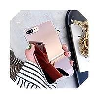 アップル用ドロッププルーフミラークリア電話ケースFor iPhone6 6s 7 8 Plus X 10 11 Pro XR XS Max SETPUソフトシリコンバックカバー-RoseGold-For iPhone11 Pro Max