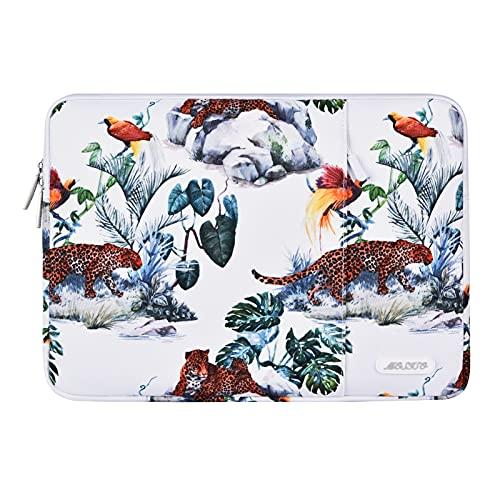 MOSISO Funda Protectora Compatible con MacBook Pro 13/MacBook Air 13,13-13,3 Pulgadas Portátil,Bolsa Blanda de Transporte Vertical de Poliéster Impermeable con Bolsillo, Base Blanca de Leopardo