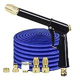 Yonglan Flexibler Gartenschlauch, Flexibel Wasserschlauch, Dehnbarer Schlauch Gartenschlauch Handbrause Blau 30m