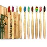 GeekerChip Cepillos de Dientes de Bambú,Paquete de 10 Cepillo de Dientes Bambú di Cerdas Suaves y...