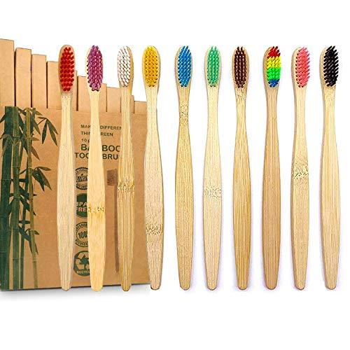 GeekerChip Bambus zahnbürsten[10 Stück]zahnbürste bambus BPA Frei,zahnbürste holz,Umweltfreundliche,Unabhängige Verpackung,10 Farben,Biologisch Abbaubare