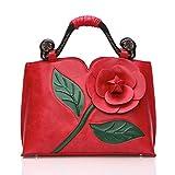 AnKoee Mujer Bolsos de Moda Bolsas de Bolso Bandolera Bolso de diseño Floral PU Cuero Bolso Tote Bag (Rojo)