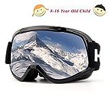 Skibrille, Over Glasses Snowboardbrillen für Männer, Frauen, Jugendliche oder Kinder - UV400 Schutz und Anti-Fog - Double Grey Sphärische Linse