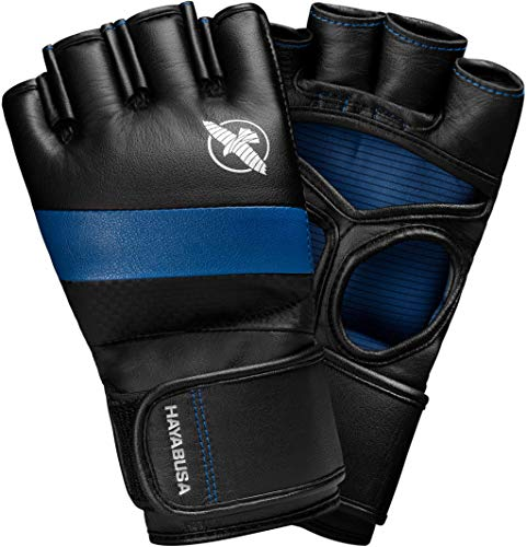 Hayabusa T3 4oz Pro Style MMA Gloves for Men and Women - Black/Blue, Small