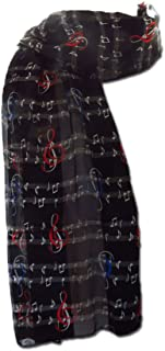 New Company Womens Sheet Music with Gclef Scarf - Black - One Size