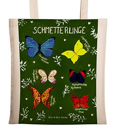 Mr. & Mrs. Panda Umhängetasche, Tasche, Tragetasche Schmetterlinge mit Spruch - Farbe Transparent