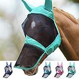Harrison Howard CareMaster Pro Luminous Máscara de mosca de caballo Nariz larga con orejas Protección UV para caballo-Menta de verano (L)