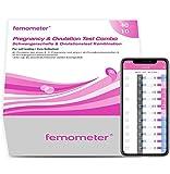 Femometer 40 ovulationstest + 10 Schwangerschaftstest mit Urinbecher 20 miu/ml optimaler Sensitivität, Genaue Ergebnisse mit smarter App, Automatische Erkennung der Testergebnisse (lh40&hcg10)