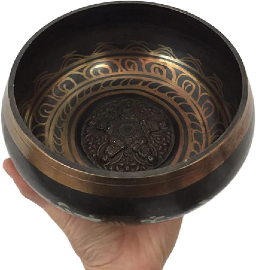 Tazón tibetano de cobre hecho a mano con golpecito de madera ~ Crea un hermoso sonido para sanación holística, meditación y relajación Mindfulness Mantra (cobre liso)