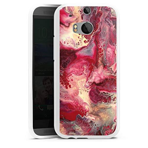 DeinDesign Silikon Hülle kompatibel mit HTC One M8 Case weiß Handyhülle pink Abstrakt Marmor