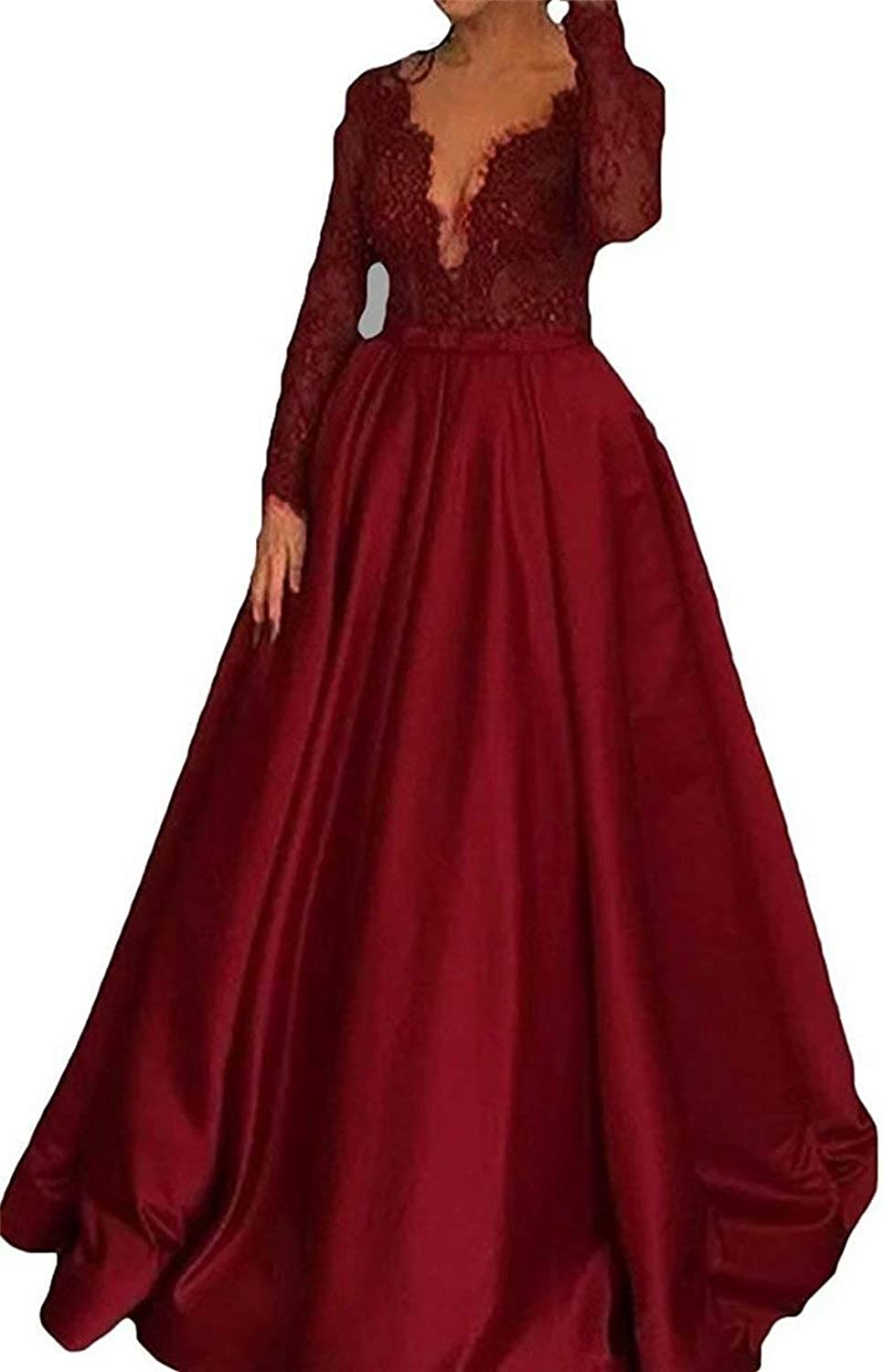 EEFZL Lace Long Sleeves Mother The Bride Prom Dresses Long Evening Party Formal Gown