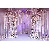 YongFoto 3x2m Vinilo Fondo de fotografía Arco de la Boda romántica Orquídeas y Rosas Decoradas Interior Telón de Fondo Fotografía día de San Valentín Boda Estudio de Foto Fondos fotográficos