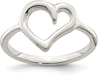 925 Sterling Silver Polished Heart Ring