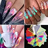 Flame Reflections Nail Stickers - 16PCS Holographic Fire Flame Nail Art Decals 3D Vinyls Nail Stencil for...
