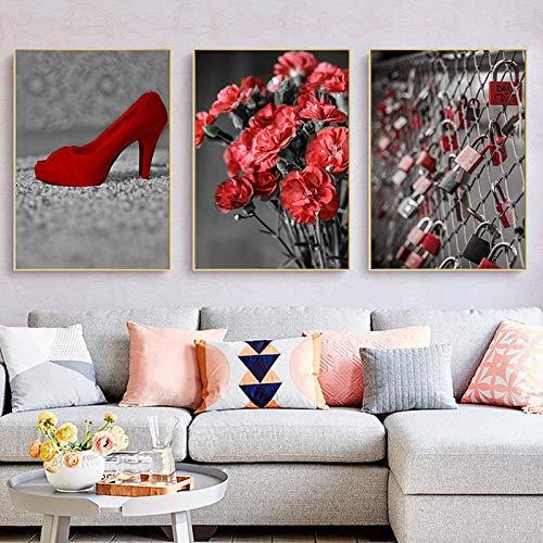 Lienzo Arte De La Pared PóSter De Flores Grises ImpresióN NóRdica Zapatos Rojos De TacóN Alto PóSter Con Candado De Hierro Para La DecoracióN Del Hogar De La Sala De Estar 30x50cm(12x20in)X3 Sin Marco