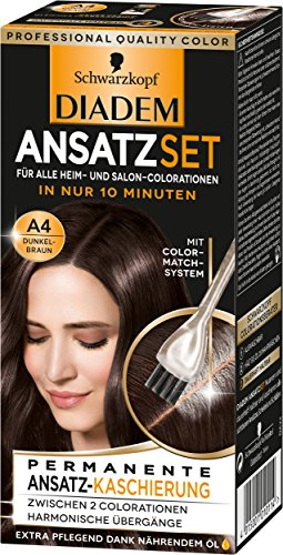 SCHWARZKOPF DIADEM Ansatzset Ansatz-Kaschierung, Haarfarbe A4 Dunkelbraun Stufe 3, 3er Pack (3 x 22ml)