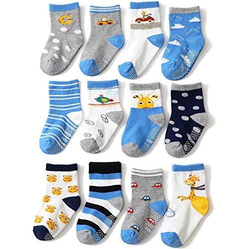 Winter Non-Slip Floor Socks Boys Indoor Toddler Socks Anti-Fall Socks Cartoon Boys Anti-Skid Socks 12 Pairs,M
