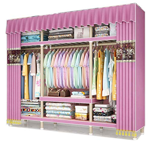 ZKHD Home Curtain-Type Fabric Storage Closet, Increase Storage Space by 30%, Bold Reinforcement All-Steel Frame Assembled Storage Cabinet,170 * 50 * 180cm