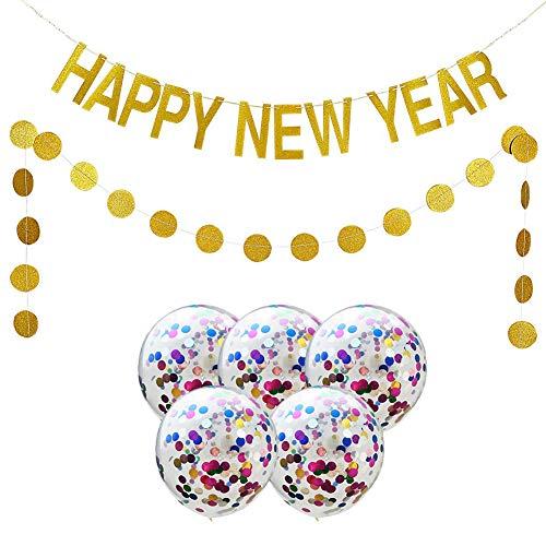 SMUER Decorazioni Festa Capodanno di Buon Anno Giganti Striscioni Happy New Year E Palloncini Paillettes Colorati Ghirlanda di Carta Dorata A Pois