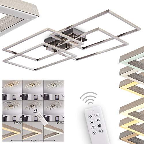 LED Deckenleuchte Cheka, moderne rechteckige Deckenlampe aus Metall in Aluminium, 4-flammig, 48 Watt (insgesamt), 3000 Lumen, 2700-5000 Kelvin, stufenlos dimmbar über Fernbedienung