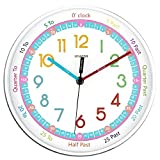 Wall Clock for Kids, Time Teacher to Learn the time, Battery Operated Silent Non Ticking, Plastic Frame Rainbow Large Number Easy to Read, Round for School Classroom Living Room 25cm Diameter-White