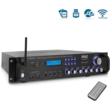 Pyle Bluetooth Hybrid Amplifier Receiver - Home Theater Pre-Amplifier with Wireless Streaming Ability, MP3/USB/SD/AUX/FM Radio (3000 Watt)