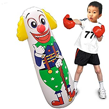 Jet Creations Clown Punching Bag Inflatable Figure with Weighted Bottom  You Fill Water/Sand  1 pc Multi 42 inch Tall FUN-BB03