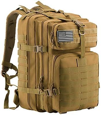 Luckin Packin Military Tactical Backpack, Molle Bag, Rucksack Pack, 45 Liter Large Khaki