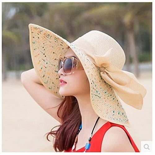 AIMICONG Sombrero Sombrero De Paja De Verano Mujer Vacaciones Al Aire Libre Playa Damas Sombrero De ala Ancha Sombrero De Visera Sombrero De Panamá Mujer Chapeu Femenino