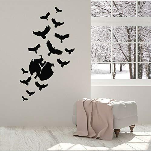 Art creatieve wandtattoo wandklok vogel binnendecoratie voor woonkamer slaapkamer raam kindersticker van vinyl 42 x 71 cm
