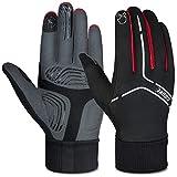 Souke Sports Winter Cycling Gloves Men Women, Touch Screen Padded Bike Glove Water Resistant Windproof Warm Anti-Slip for Running, Biking, Workout(Red,Medium)