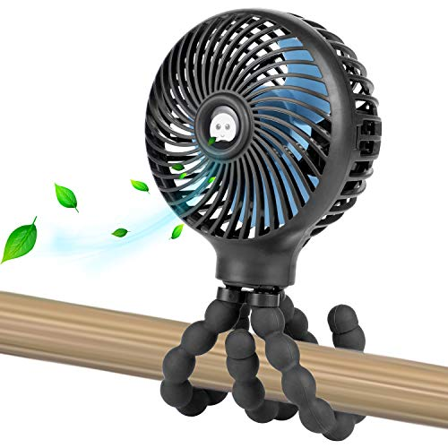 Mini Handheld Personal Portable Fan, Baby Stroller Fan, Car Seat Fan, Desk Fan, with Flexible Tripod Fix on Stroller Student Bed Bike Crib Car Rides, USB or Battery Powered (Black)