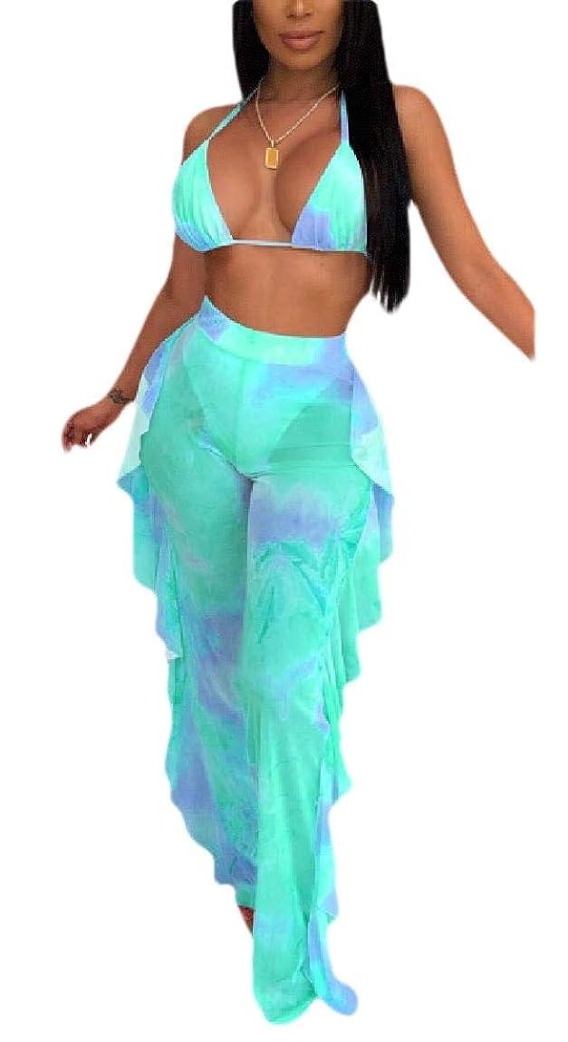 チャート同時からWomen Floral Print Bra Top and Long Pants 2 Pieces Outfits Jumpsuit