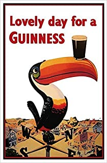 Buyartforless CAN VINT1101 Canvas Guinness Beer Lovely Day Toucan On Weather-Vane 36X24 Gallery Wrap Print