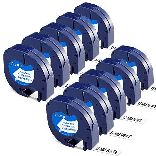 Aken - Cinta de Etiquetas compatible para usar en lugar de Dymo Letratag Cinta Etiquetas plastico 12mm x 4m negro sobre blanco, Recambios S0721610 para Dymo Letratag LT-100h LT-100T LT-110T XR XM QX50