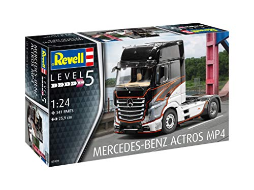 Revell 07439 14 Modellbausatz Mercedes-Benz Actros MP4 im Maßstab 1:24, Level 5, Multicolour