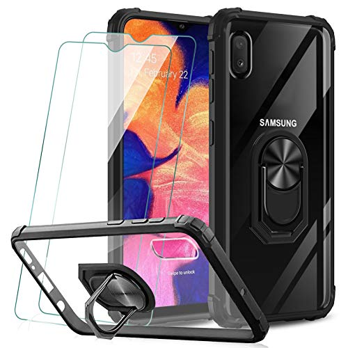 KEEPXYZ Funda Samsung Galaxy A10 + 2 Pcs Protector de Pantalla Cristal Vidrio Templado, Dura PC Transparente/Negro Silicona TPU Bumper Carcasa / 360 Grados iman Soporte para Samsung Galaxy A10