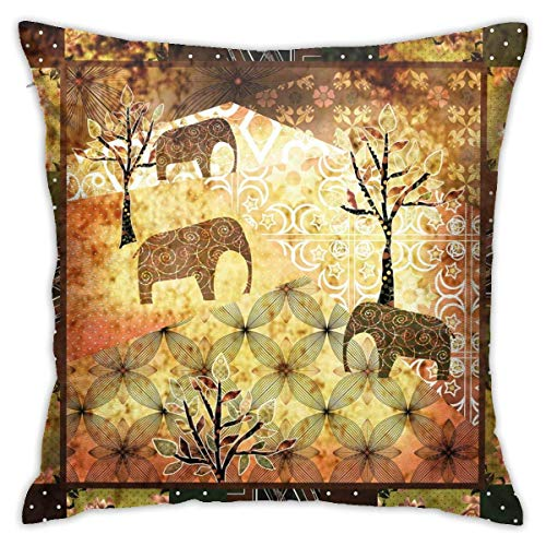 N/Q Polyester Throw Pillow Case Cushion Cover Vintage Featured Elephants Trees Roses Print Sofa Home Decorative (18x18 inch)