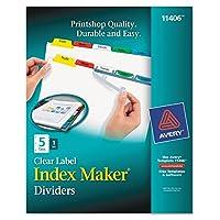 インデックスメーカーホワイトディバイダー、マルチカラー5-tab、手紙、Sold As 1セット