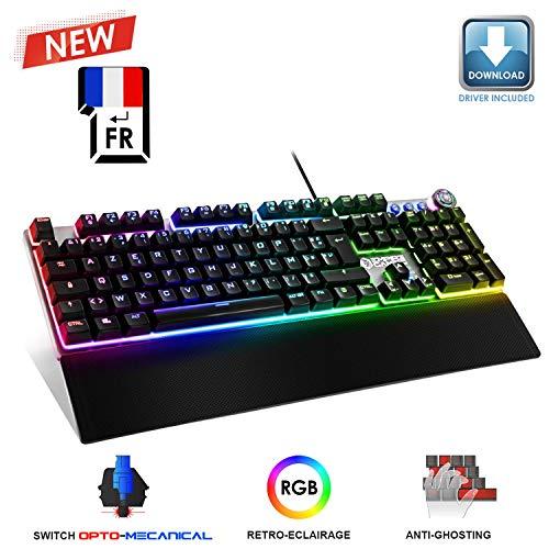 EMPIRE GAMING – STARDUST Clavier Gaming – Touches Opto-Mécaniques – Rétro-Eclairage LED RGB –Logiciel Programmation - Repose-Poignets Amovible (AZERTY, Français)