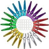 Lawei 24 Stück Kazoo mit 24 Stück Kazoo Flöten-Membranen, 6 Farben Metall Kazoo Musikintrument, Geschenk für Kinder Musikliebhaber