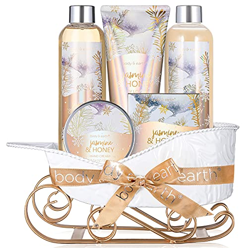 Bath and Body Set - Body & Earth Women Gifts Spa Set with Jasmine & Honey Scent, Includes Bubble Bath, Shower Gel, Body Lotion and Hand Cream. Perfect Valentine's Day Gift Basket for Women